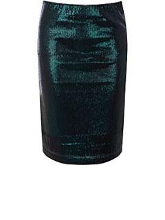 Oasis Sequin pencil skirt Indigo