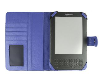 Kindle 3 Genuine Leather Case Cover Jacket Blue