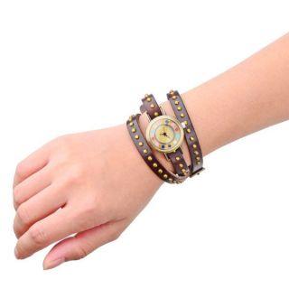 Leather Bracelet Wrap Wrist Watch   Dark Dark Brown + Bronze