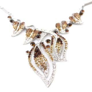 Crystal Elegant Silver Leaf Jewelry Necklace Earrings Set yellow