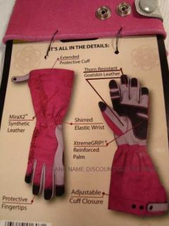 ERGONOMIC Pink PROTECT Garden Gloves Leather GRIP Roses Thorns S M L