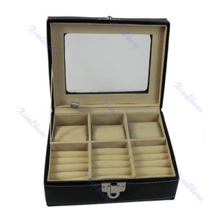 Leather Display Organizer Storage Box Holder Show Case for Rings