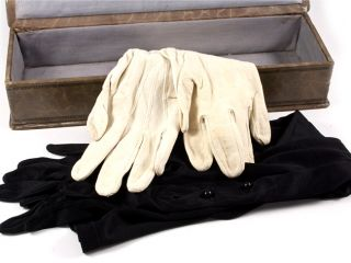 Art Nouveau Leather Glove Box Gloves 1909