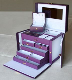 Beautiful Large Purple Leather Jewelry Box with Travel Case Lock