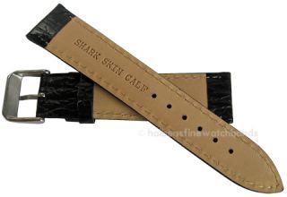 22mm Shark Skin Grain Black White Stitch Leather Watch Band Strap