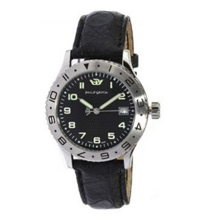 R8251200025 Admiral Mens Stainless Steel Watch Black Leather Band