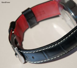 24mm Black Band with Back Red Color Genuine Leather Watch Band Strap