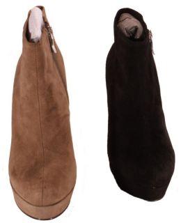 BCBGeneration Black or Dark Spice Joesana Suede Heel Boots Womens