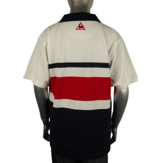 Boys Kids Le Coq Sportif Striped Polo Tee T Shirt Top Junior Sports