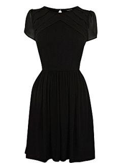 Warehouse Pleat front split sleeve dress Black