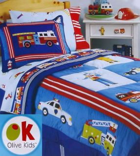 Olive Kids Fire Police Rescue Heroes Queen Comforter Sheets 5pc