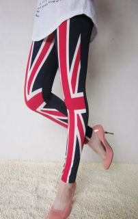 The Union Jack UK Flag Leggings Sexy Fitted Straight Pants Stretch