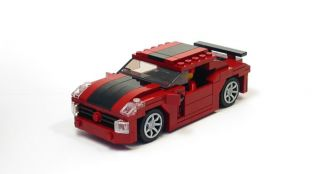 Lego Custom Dark Red Muscle Car w/ Black City Town 10185 10211 10197