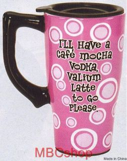 Coffee Latte Theme Ceramic Travel Mug Plastic Lid FS