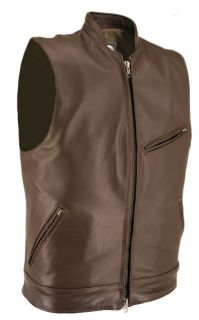 Horsehide Leather Cafe Racer Motorcycle Vest Stand Up Collar