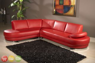 Sierra Modern Red Leather Sectional Sofa Couch Chaise