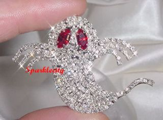 Scary Halloween Ghost Pin Brooch with Swarovski Crystals