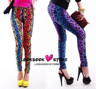 Party Must Leopard Neon Bright Leggings Tights Legwear