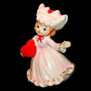 Vintage Lefton Valentine Girl with Heart and Fluffy Outfit Figurine