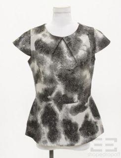 Lela Rose Grey Black Cap Sleeve Peplum Top Size 8