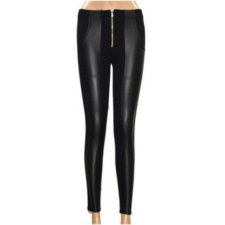 Black Faux Leather Leggings as Pants with Zipper Skinny Warm Jeggings