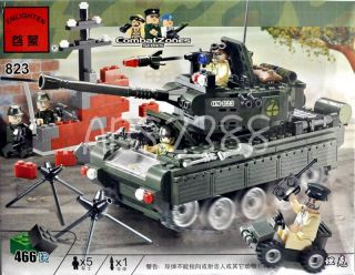 Army Combat Tank with Minifigures Battle Military Building Block Brick