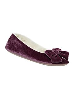 Linea Big bow velour slippers Mauve   House of Fraser