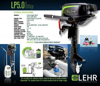 Lehr LP5 0S Propane Powered Outboard Boat Motor 5 HP Short Shaft New