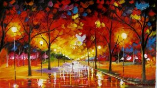 Leonid Afremov Brown Evening Park Original Oil Painting on Canvas
