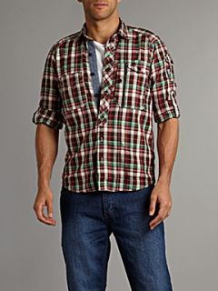Duck and Cover Long sleeved small checked shirt Plum
