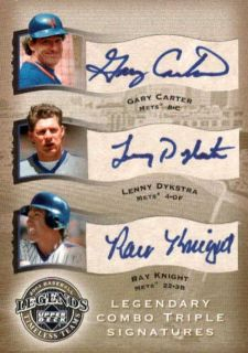 GARY CARTER/ LENNY DYKSTRA/ RAY KNIGHT 2004 UD LEGENDS METS AUTO #22
