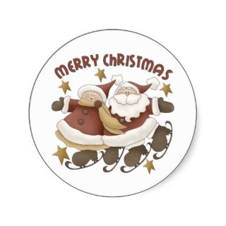 Mr. And Mrs. Santa Claus Christmas Stickers