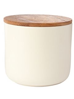 Linea Daley cream storage jar with acacia Lid
