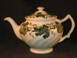 Vintage Johnson Bros Brothers Ironstone Green Ivy Teapot Staffordshire