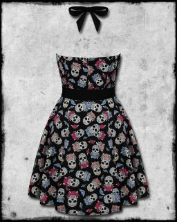 Hell Bunny Leticia Black Sugar Skull Rose Tattoo Rockabilly Pinup