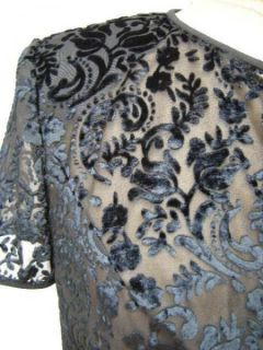 David Warren Black Burned Velvet Eve Jacket Top Sz 10