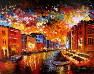 Leonid Afremov Venice Grand Canal Italy Gondola Original Oil Painting