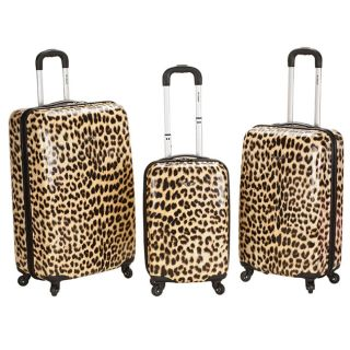 Designer 3 Piece Lightweight Hardside Spinner Luggage Set   Leopard