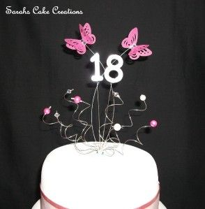 Birthday Cake Topper Butterflies Swarovski Crystal