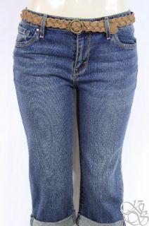 Levis Jeans 515 Cuffed Mid Rise Petite Navy Blue Denim Womens Capris
