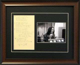 John Lennon Beatles Signed Music Lyrics Framed Reprint