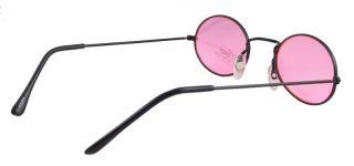 Goth Vampire Pink Lens Black Hippie Sun Glasses 666