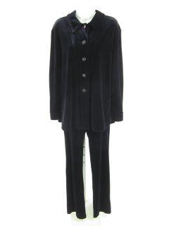Max Studio Leon Max Black Velvet Jacket Pant Suit Sz M