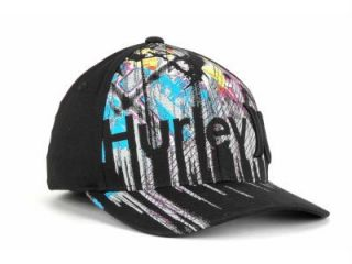 Hurley Lets Go Black Flex Fit Hat Ball Cap New