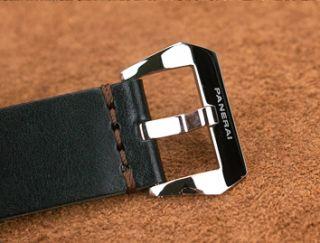 Panerai OEM Vintage Black leather 24mm strap w NEW OEM Steel Buckle