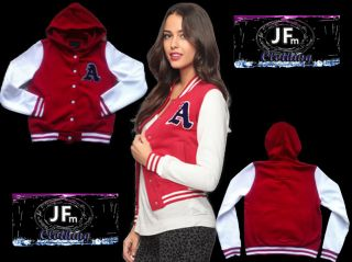 Christmas Gifts Ladies Varsity Letterman Jacket/Sweater Hood RED/White