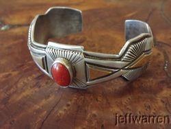 Navajo Leonard Marion Nez Coral Sterling Silver Gold Bracelet Stunning