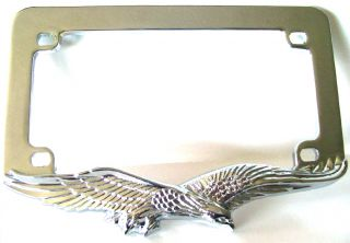 Chrome Eagle License Plate Frame   Motorcycle Tag Number Lic Bracket