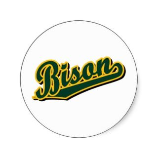 Bison in Green and Gold Round Sticker