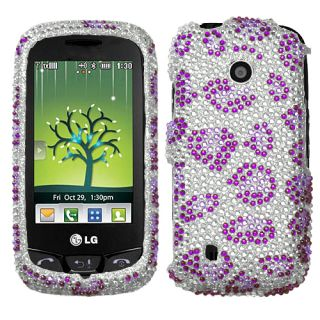LG VN270 Cosmos Touch Case Cover Bling Rhinestones Leopard Skin Purple
